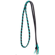 rafter t leather barrel rein with turquoise braid loading image