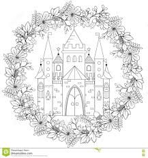 Relaxing Coloring Page With Fairy Castle In Forest Wreath For Kids ...