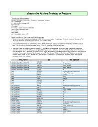 Conversion Factor Chart Conversion Factors For Units Of Pressure Home