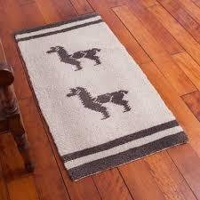 hand knotted wool area rug with llama motif 2x4 llama love