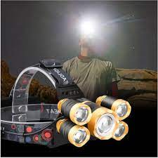 Đèn Pin Đội Đầu Chiếu Sáng Ngoài Trời 5 Bóng Led Siêu Sáng