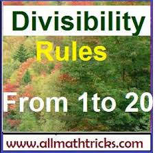 Divisibility Rules Chart Pdf Math Divisibility Rules For Numbers From 1 To 20 Basic