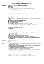 Sample Professor Resume Assistant Associate Professor Resume Samples Velvet Jobs