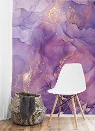 Purple wallpaper accent wall ...