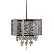4 light drum chandelier heavy duty steel plastic crystal accent chrome finish