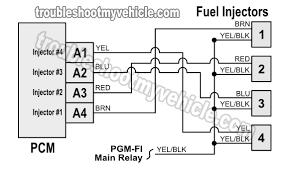 1996 1998 fuel injector circuit diagram (1 6l honda civic) 1997 honda civic electrical wiring diagram at 97 Civic Wiring Diagram