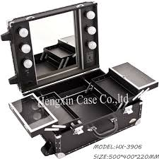 black faux leather professional rolling makeup studio case with lightirror light up make up