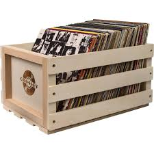 crosley radio record storage crate for 75 lp als solid wood finish