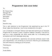 Computer Programmer Cover Letter Sample Cover Letter For Programmer