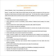QA QC Civil Engineer Job Description Sample PDF Free Download
