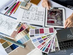 interior designer. Architects/ Interior Designer Hands Working With Tablet Computer, Material Sample Royalty-free Stock
