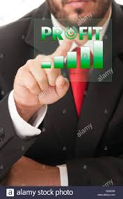 Business Man Click Button To Activate Profit Chart Or Bars