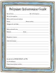 babysitter info sheet weheart bies babysitter info sheet 1 on a page