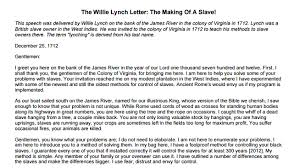 william lynch letter the willie lynch letter the making of a slave kgo am