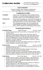 Sample Resume Hospitality