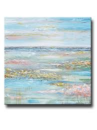original art abstract painting landscape horizon blue green gold grey pink textured large 40x40  on pink and gold floral wall art with original art abstract painting field landscape blue green wall decor