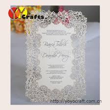 Wedding Card Design Handmade Menu Cards Laser Cut Flower Design Wedding Handmade Menu
