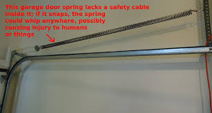 garage door springFileGarage door spring needs a safety cable through itjpg