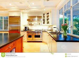 Huge Refrigerator White Large Luxury Kitchen With Huge Stove And Refrigerator Stock