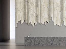 chic bamboo tiles covering a part of the bathroom wall as a mural
