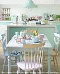 a gorgeous pastel dining room and kitchen area with painted chairs from heart handmade uk