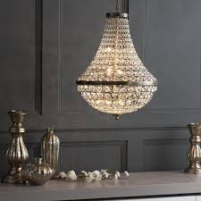 gorgeous antique brass chandelier at large crystal basket ceiling pendant from litecraft