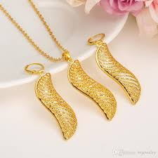 dubai gold jewelry set fashion african jewelry hollow fan shaped dangle earrings pendant necklace for women gift girls charms with 5 15 piece on