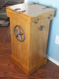 Decorative Kitchen Trash Cans Buy A Hand Crafted Rustic Wood Trash Can Made To Order From Thh