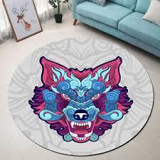 round floor mat rug bedroom living room area rugs cartoon design angry wolf head