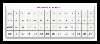 Terramina Size Chart