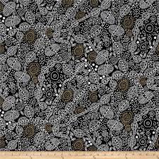 bush tucker black from fabricdotcom designed by june smith for m s textiles australia