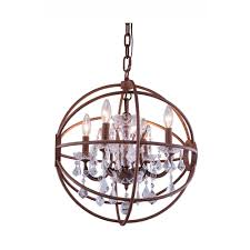 foucault s orb 5 light 20 rustic intent iron crystal chandelier