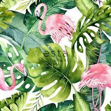 Top Honderd Estahome Behang Xxl Tropische Bladeren Met Flamingos