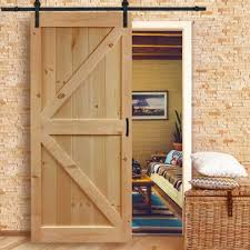 solid wood flush interior barn door