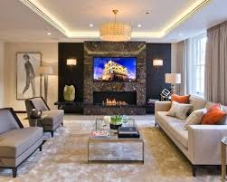 this is an example of a contemporary formal living room in with beige walls feature wall
