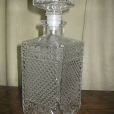 exquisite french vintage cut glass decanter pressed glass whiskey decanter liquor decanter