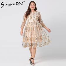 Simplee Plus Plus size lace sexy embroidery <b>women dress</b> Vintage ...