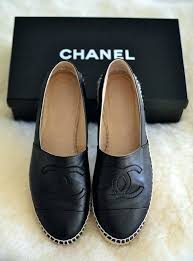 chanel espadrille black leather lambskin espadrilles flats size us cream and