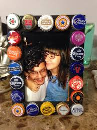 21st birthday gift for my boyfriend painted a 1 99 wooden frame from michael s in black just hot glued beer caps