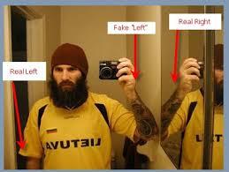 mirror reflection different. \ mirror reflection different