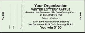 3 Digit State Lottery Tickets Raffle Ticket