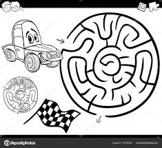Doolhof Met Auto Kleurplaten Pagina Stockvector Izakowski 157548766
