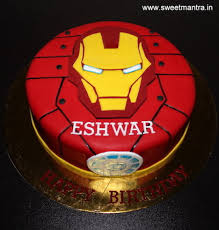 Iron Man Theme Customized Small Designer Fondant Birthday Cake