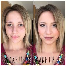 blush before and after. younique liquid touch foundation, blush in sophisticated and lipstick affluent before after