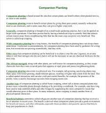Companion Chart Free 9 Sample Companion Planting Charts In Pdf Word