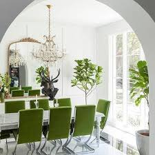 Green Velvet Dining Chairs with Marble Dining Table