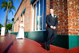 bride and groom outside country garden venue