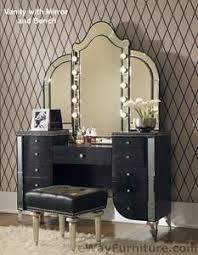 black w crystals upholstered vanity mirror bench contemporary bedroom furniture setblack makeup