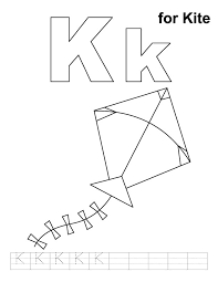Small Picture K for kite coloring page with handwriting practice Download Free