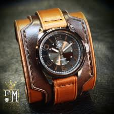 mens leather cuff watch mens limited edition citizen watch mens leather cuff watch men s limited edition citizen watch handmade two tone brown